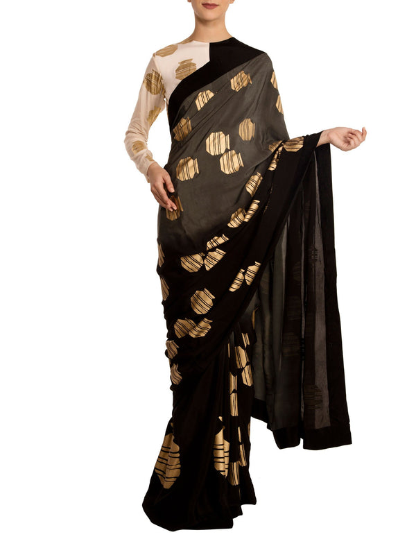 Grey Ombre Tribal Vase Saree With Half & Half Monochrome Blouse Piece