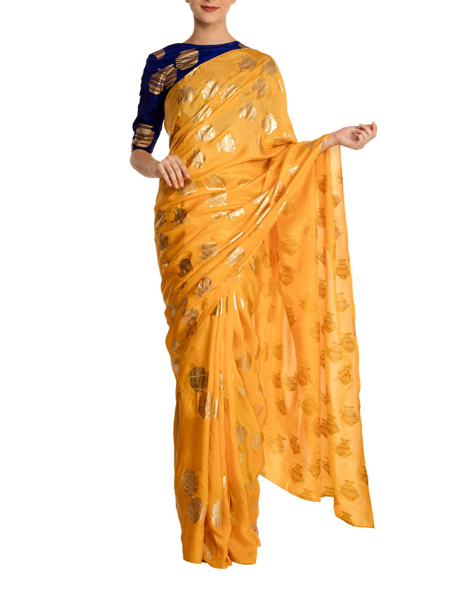 Yellow Heritage Fish Saree With Blue Tribal Vase Blouse Piece