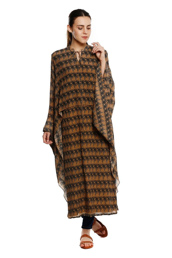 Beige Island Breeze Cape Kurta