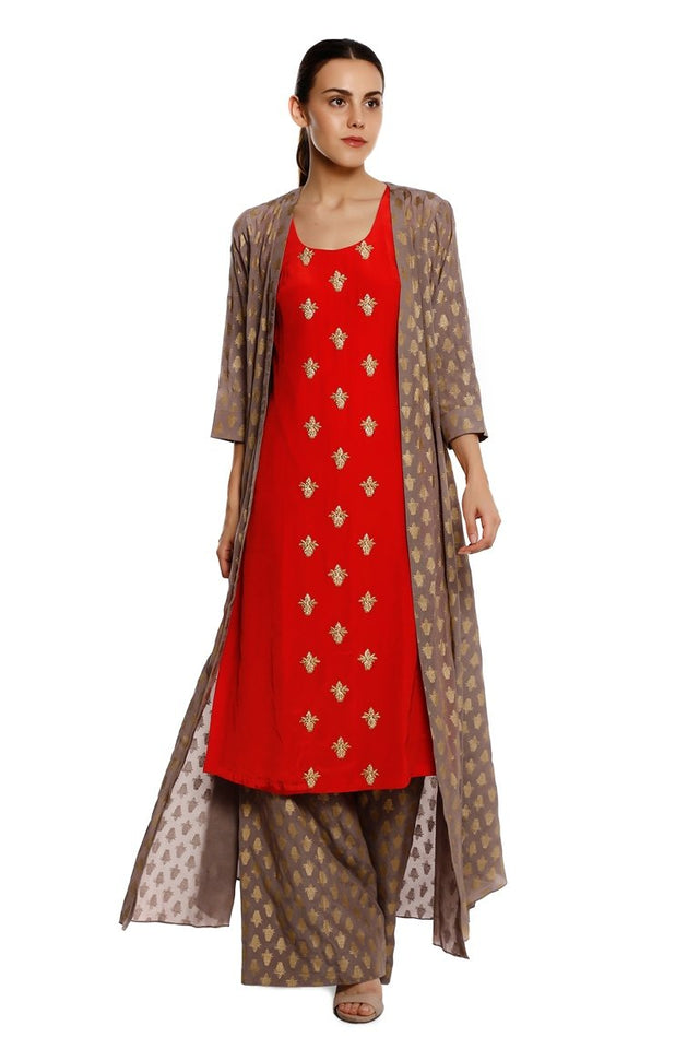 Grey Kalash Jacket With Red Kalash Emb Kurta And Grey Kalash Palazzo
