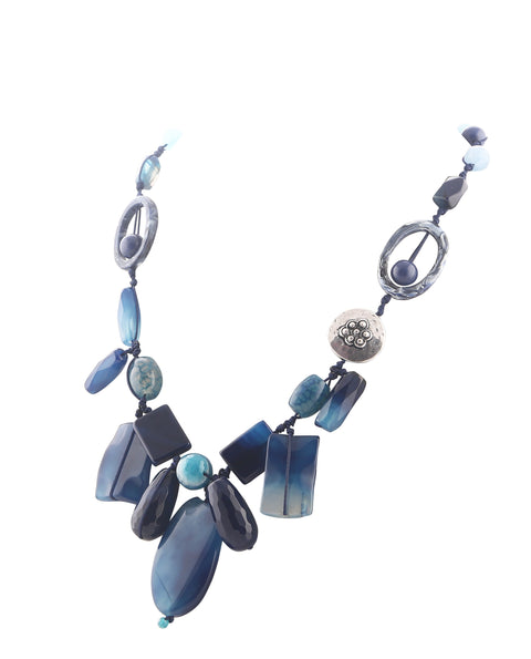Mix Bead Blue Necklace