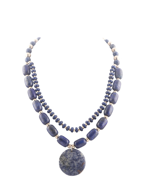 Blueish Grey Sem Precious Necklace