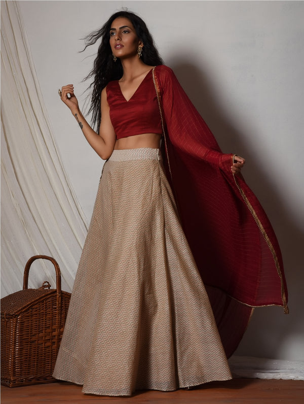 Beige Chevron Red Choli Lehenga Set