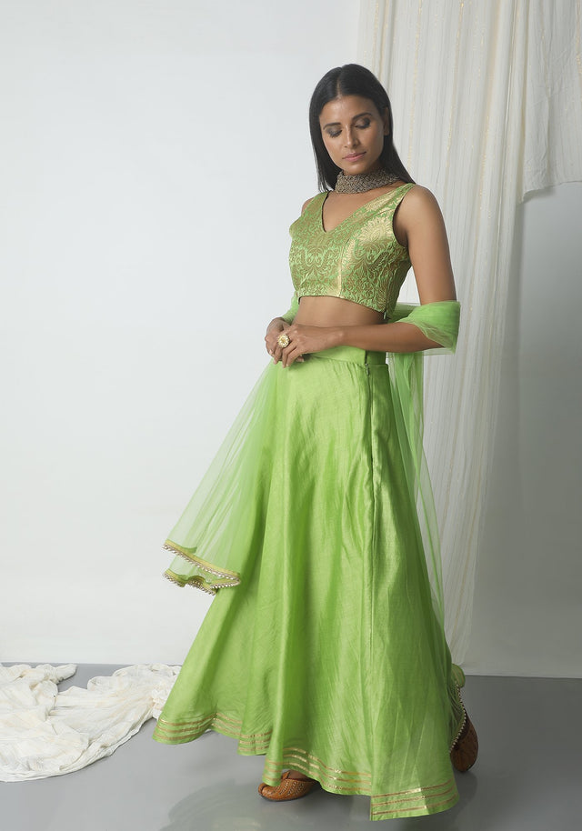 Chartreuse Green Gota Chanderi Brocade Lehenga Set