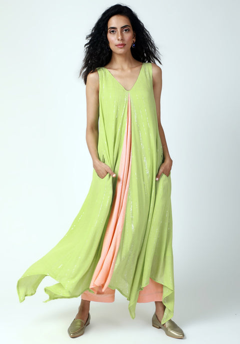 Mint Green Asymmetric Kurta Pant