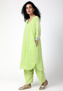 Green Silver Laced Kurta Ruffled Pant