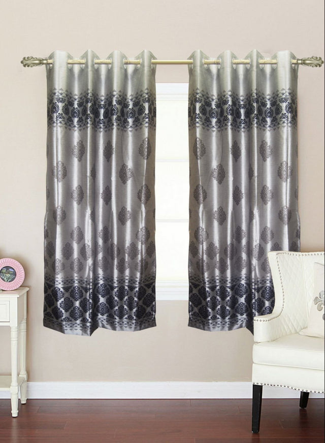 Binaca silver grey abstract window curtain (WC117)