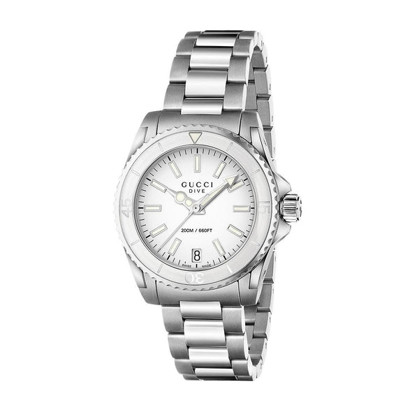 389e55aef1e Gucci Dive Unisex Medium White Dial Stainless Steel WatchYA136402 –  LuxeHues.com