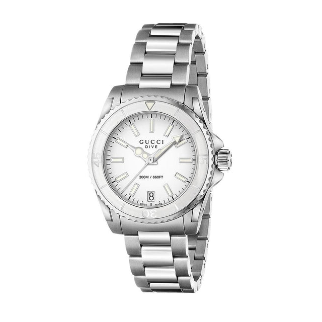 Gucci Dive Unisex Medium White Dial Stainless Steel WatchYA136402