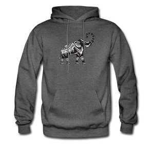 Men's Hoodie- Good Luck Elephant - charcoal gray