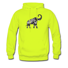 Men's Hoodie- Good Luck Elephant - safety green