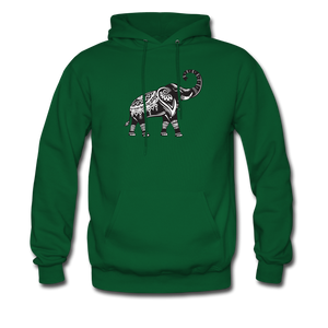 Men's Hoodie- Good Luck Elephant - forest green