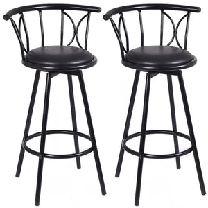 Set of 2 Black Barstools Modern Swivel