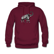 Men's Hoodie- Good Luck Elephant - burgundy