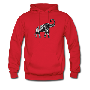 Men's Hoodie- Good Luck Elephant - red