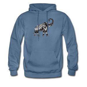 Men's Hoodie- Good Luck Elephant - denim blue