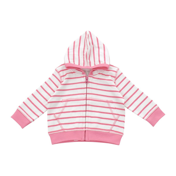 Girl: Hoodie in pink marseille stripe