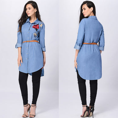 Women: Rose Embroidered Denim Dress