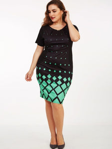 Plus Size Plaid Women's Sheath Dress