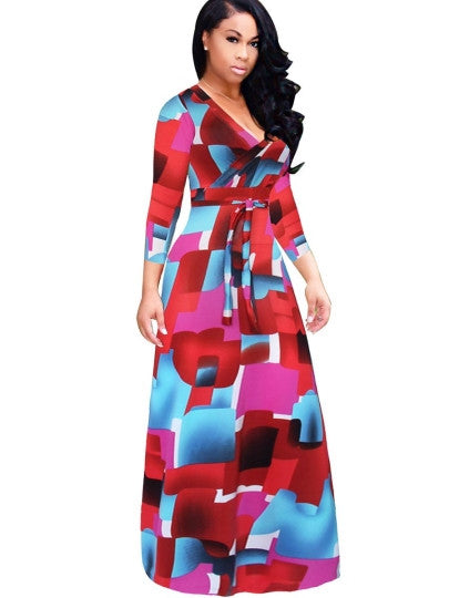 Plus Size V Neck Women's Maxi Dress