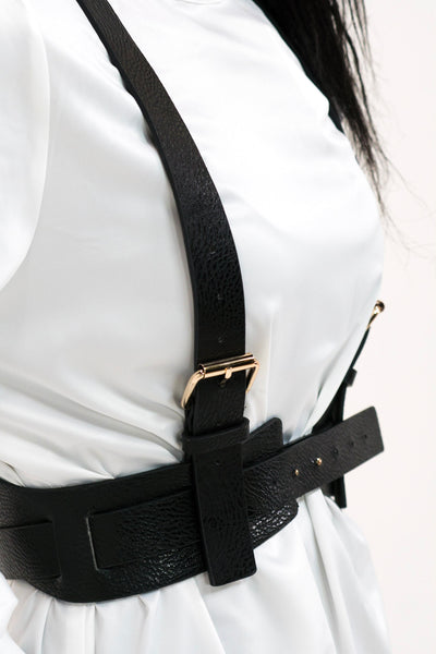 Black Buckle Harness Belt with Gold Buckles