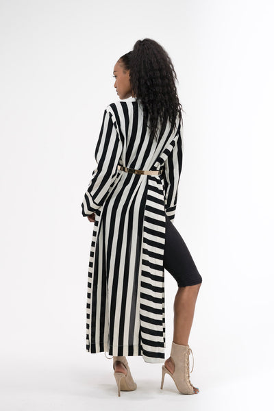 Black and White Striped Maxi Kimono with Side Split