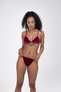Blackcurrant velvet thong bikini with triangle bikini top