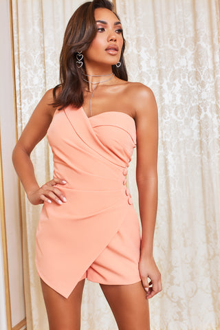 Lavish Alice one shoulder button detail playsuit in Cantaloupe
