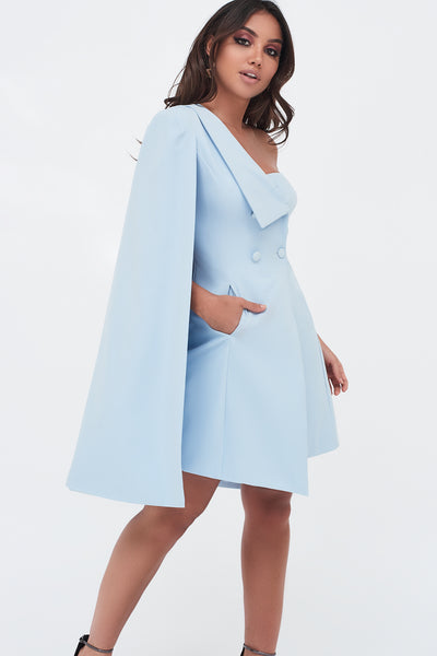 Lavish Alice light blue one shoulder cape double breasted blazer dress with fold back collar