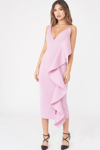Lavish Alice Asymmetric Scuba Frill Midi Dress in Dusty Pink
