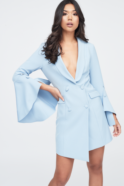 Lavish Alice blue tuxedo dress with bell sleeve