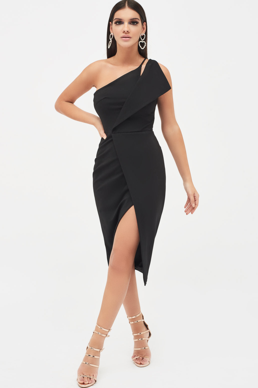 Lavish Alice black one shoulder wrap midi dress with high split