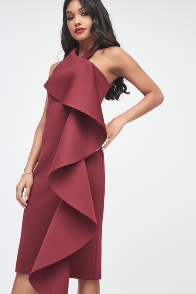 Lavish Alice Burgundy Scuba Frill Halterneck Dress