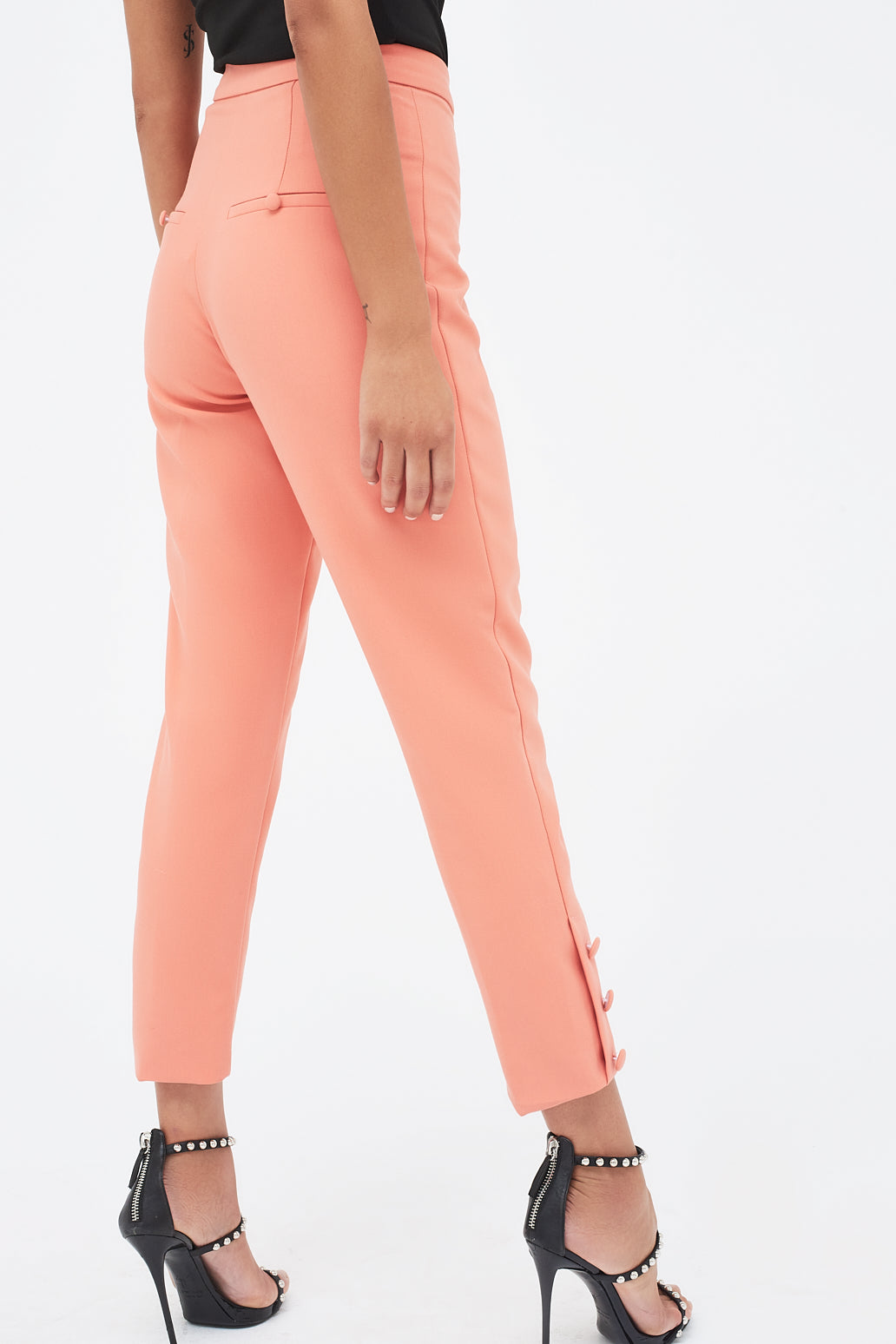 Lavish Alice tapered suit trousers with button detail in papaya