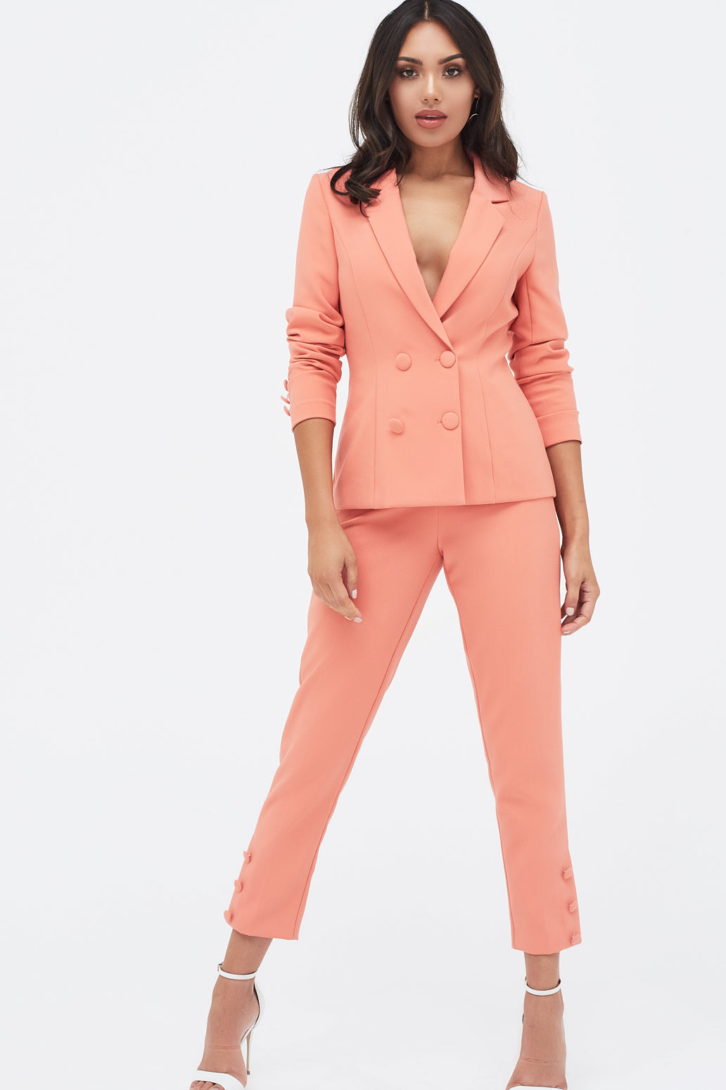 Lavish Alice double breasted fabric button suit jacket in papaya