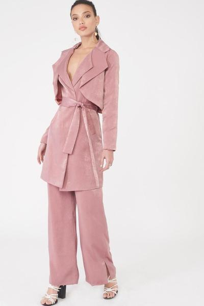 Lavish Alice Double Layer Trench Coat in Dusty Pink