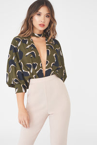 Lavish Alice draped batwing plunge neck bodysuit in Khaki with leaf print