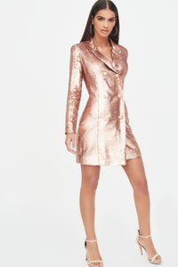 Lavish Alice All Gold Sequin Tuxedo Dress