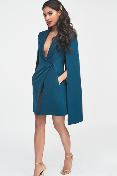 Lavish Alice Forest Green Tuxedo Cape Mini Dress
