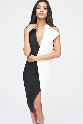 Lavish Alice Halter Neck Dress with Wrap Front in Black and White