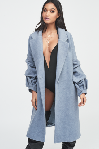 Lavish Alice gathered sleeve wool coat in grey