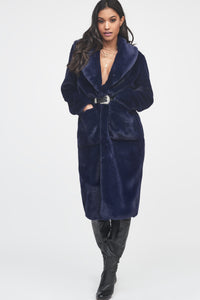 Lavish Alice navy blue oversized fur coat
