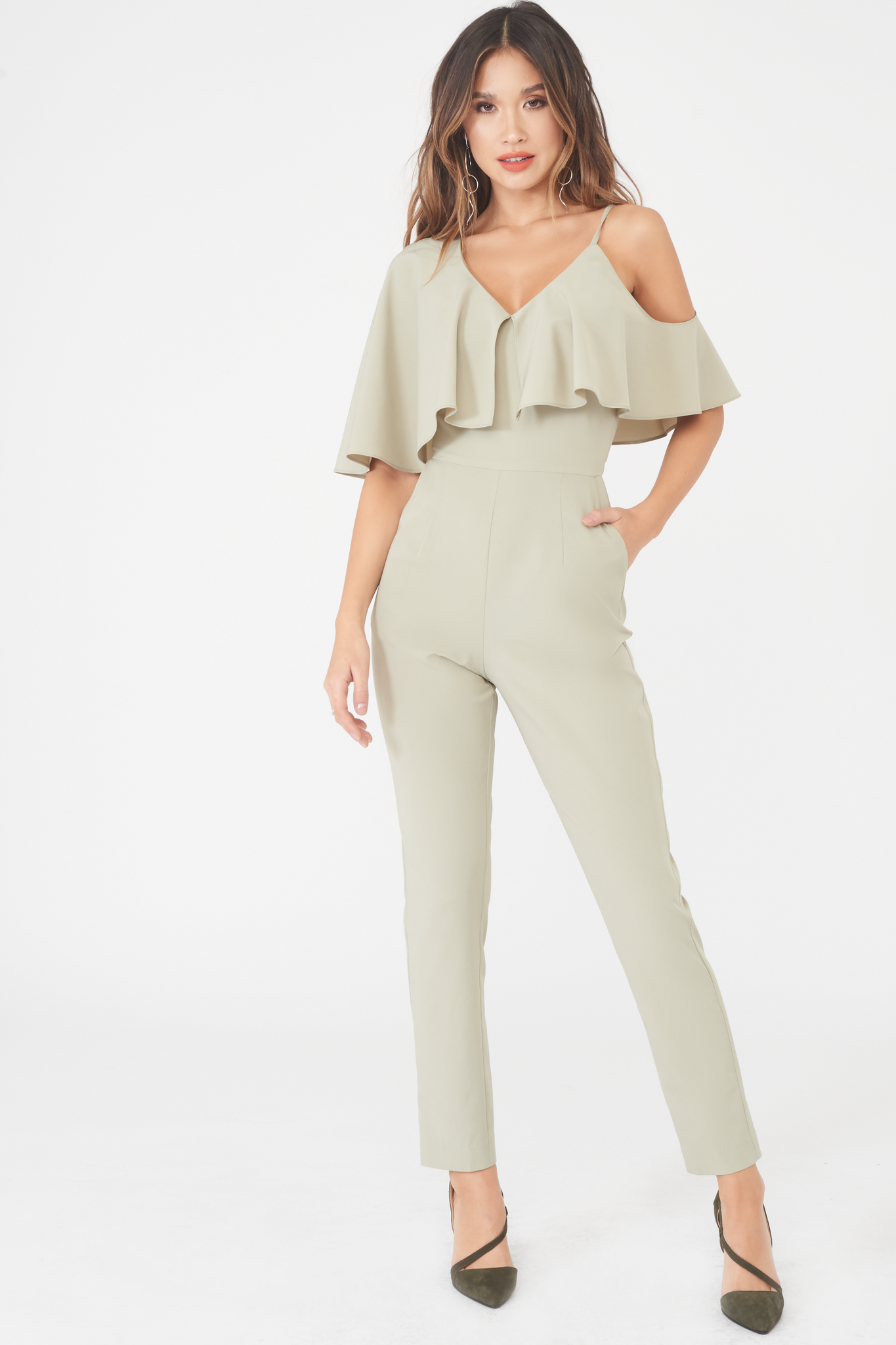 Lavish Alice off the shoulder frill jumpsuit in khaki with tapered leg