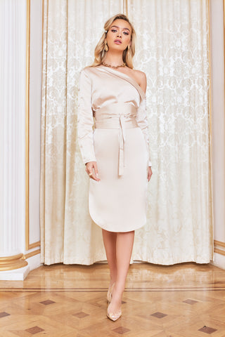 Lavish Alice Off the Shoulder Satin Shirt Dress in Champagne