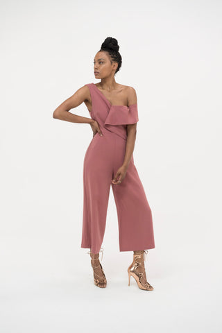 Lavish Alice Origami Culotte Jumpsuit in Dusty Pink