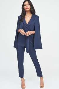 Tailored Cape Jumpsuit in Navy Blue with Storm Flap