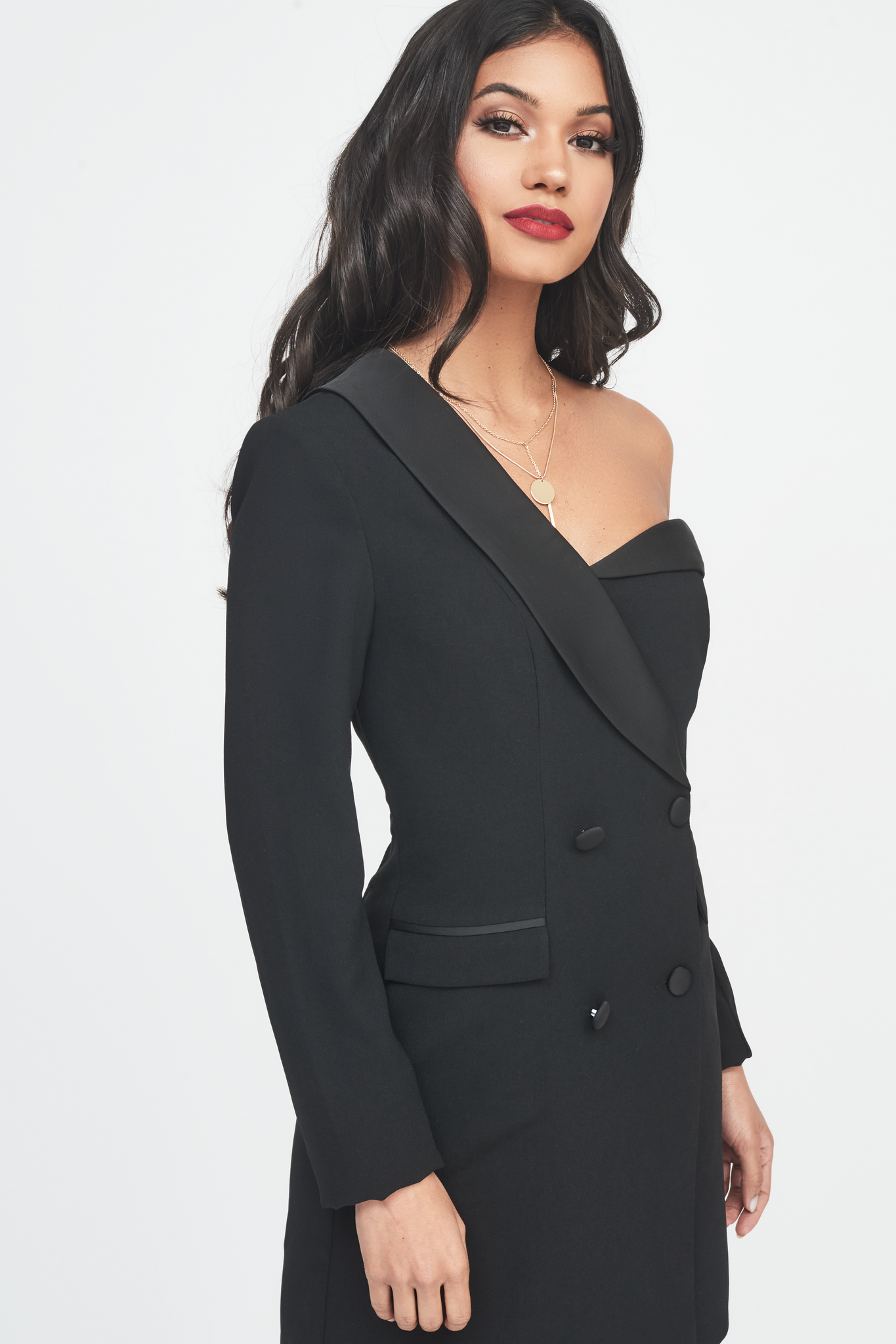 Lavish Alice off the shoulder fitted tuxedo mini dress in black