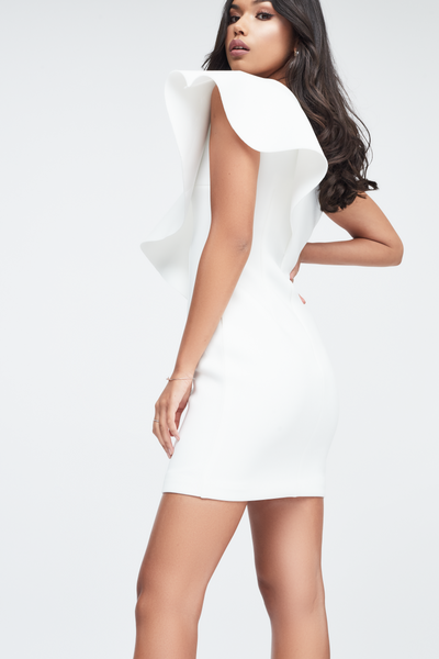 Lavish Alice White One Shoulder Dress with Exaggerated Frill in Scuba