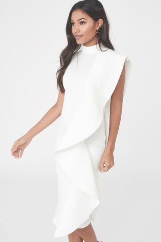 Lavish Alice White Scuba Frill Midi Dress
