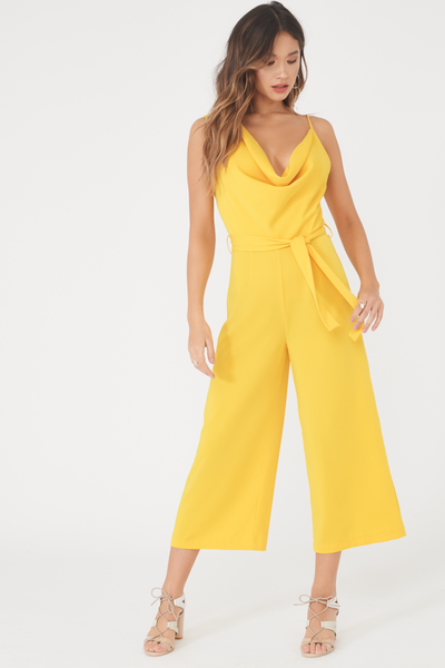 Lavish Alice Yellow Cowl Neck Culotte Jumpsuit with Waist Tie